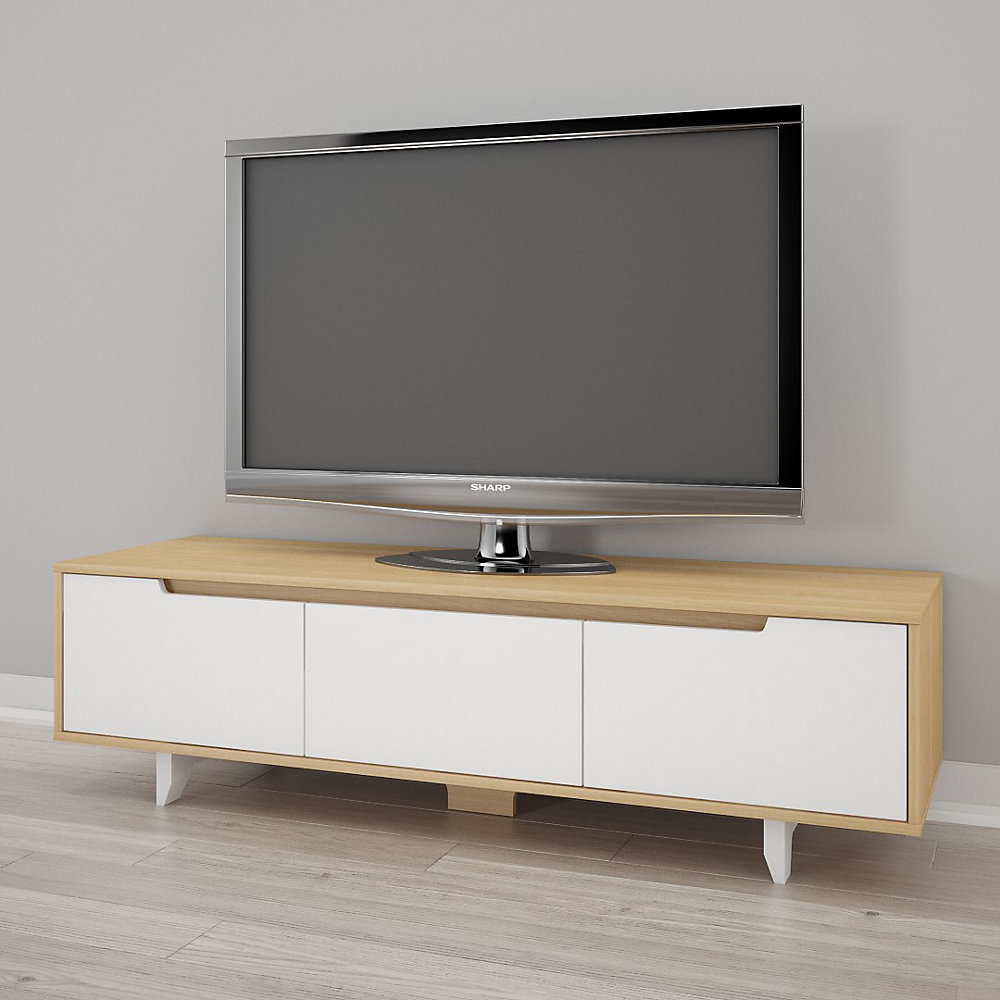 Nordik 60 inch TV Stand, White and Natural Maple