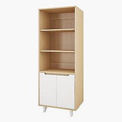 Nexera Nordik Bookcase/Audio Tower, White and Natural Maple