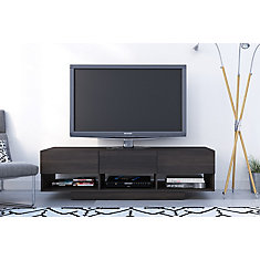 Rustik 60 inch TV Stand with 3 Drawers, Ebony
