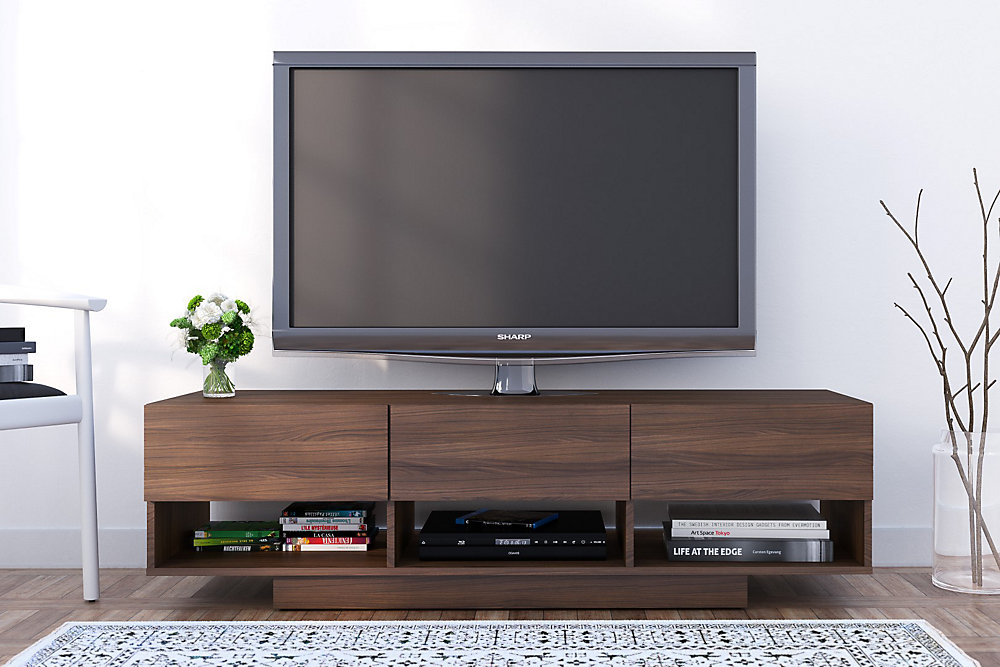 Rustik 60 inch TV Stand with 3 Drawers, Walnut