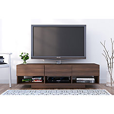 Rustik 60 Inch Tv Stand With 3 Drawers Walnut