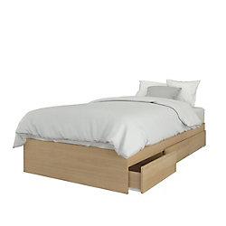 Nexera Alegria Twin Size 3 Drawer Storage Bed, Natural Maple
