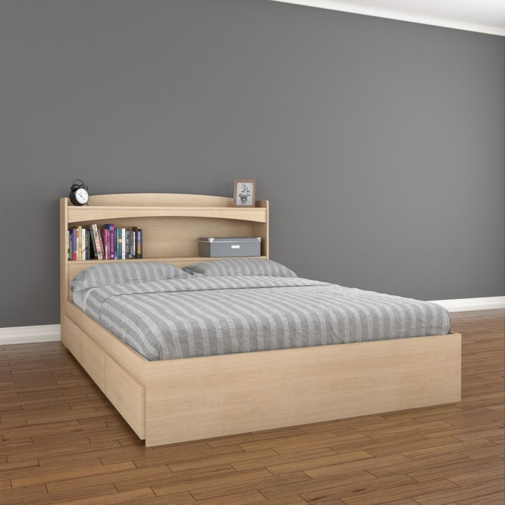 Nexera Alegria Full Size Headboard and Storage Bed, Natural Maple