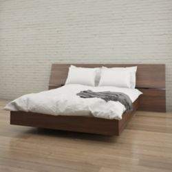 Nexera Alibi Queen Size Headboard and Platform Bed, Walnut