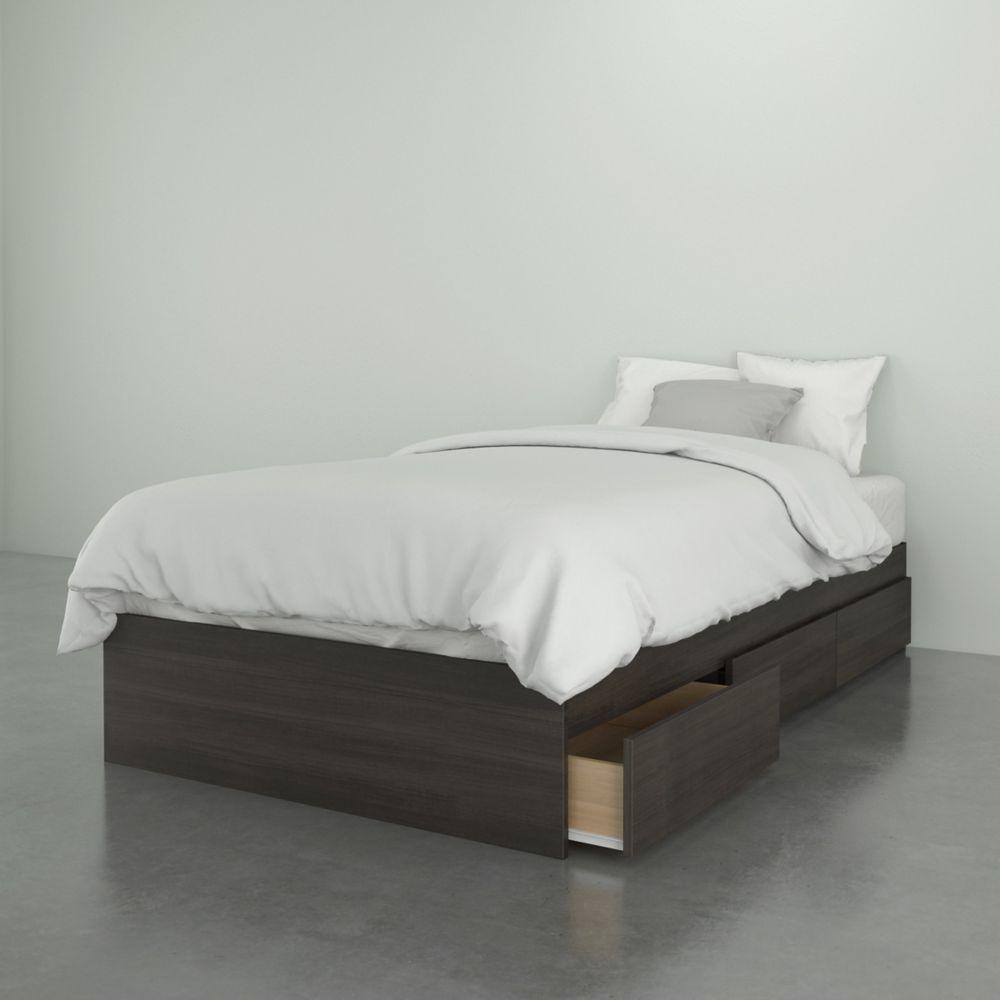 Nexera Jet Set 3-Drawer Twin Size Bed, Ebony