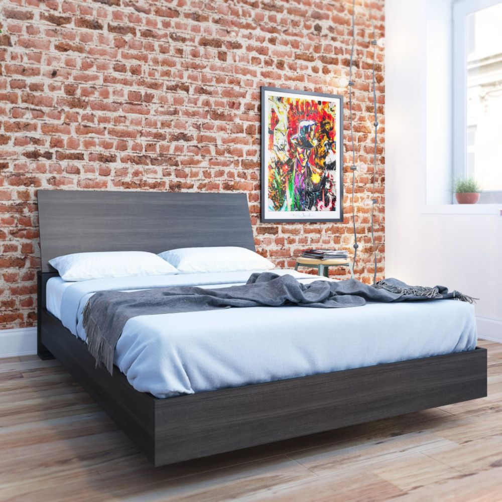 Nexera Nexera Jet Set Full Size Headboard and Platform Bed, Ebony