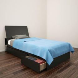 Nexera Lit rangement et tête de lit simple Avenue, Noir
