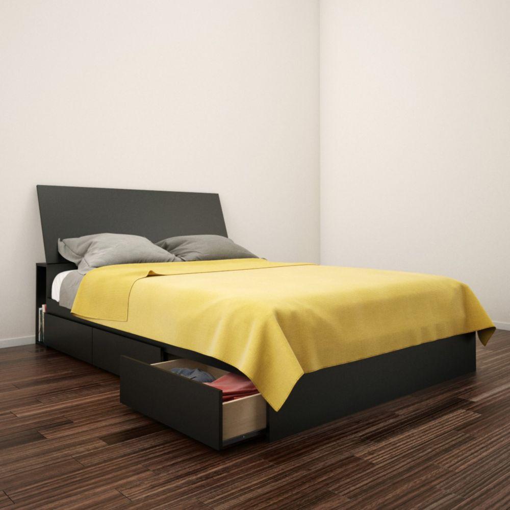 Nexera Avenue Full Size Headboard and Storage Bed, Black