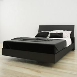 Nexera Avenue Queen Size Headboard and Platform Bed, Black