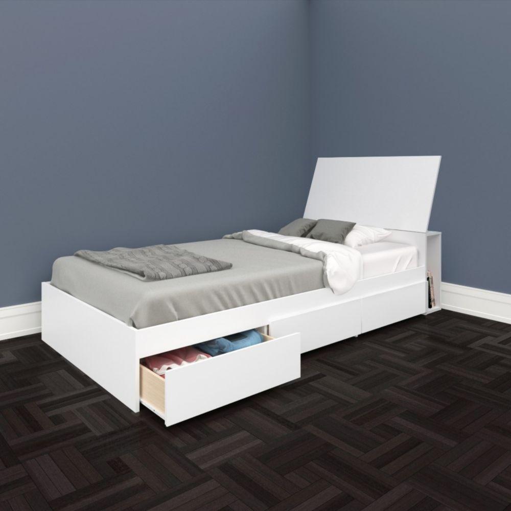 Nexera BLVD Twin Size Headboard and Storage Bed, White