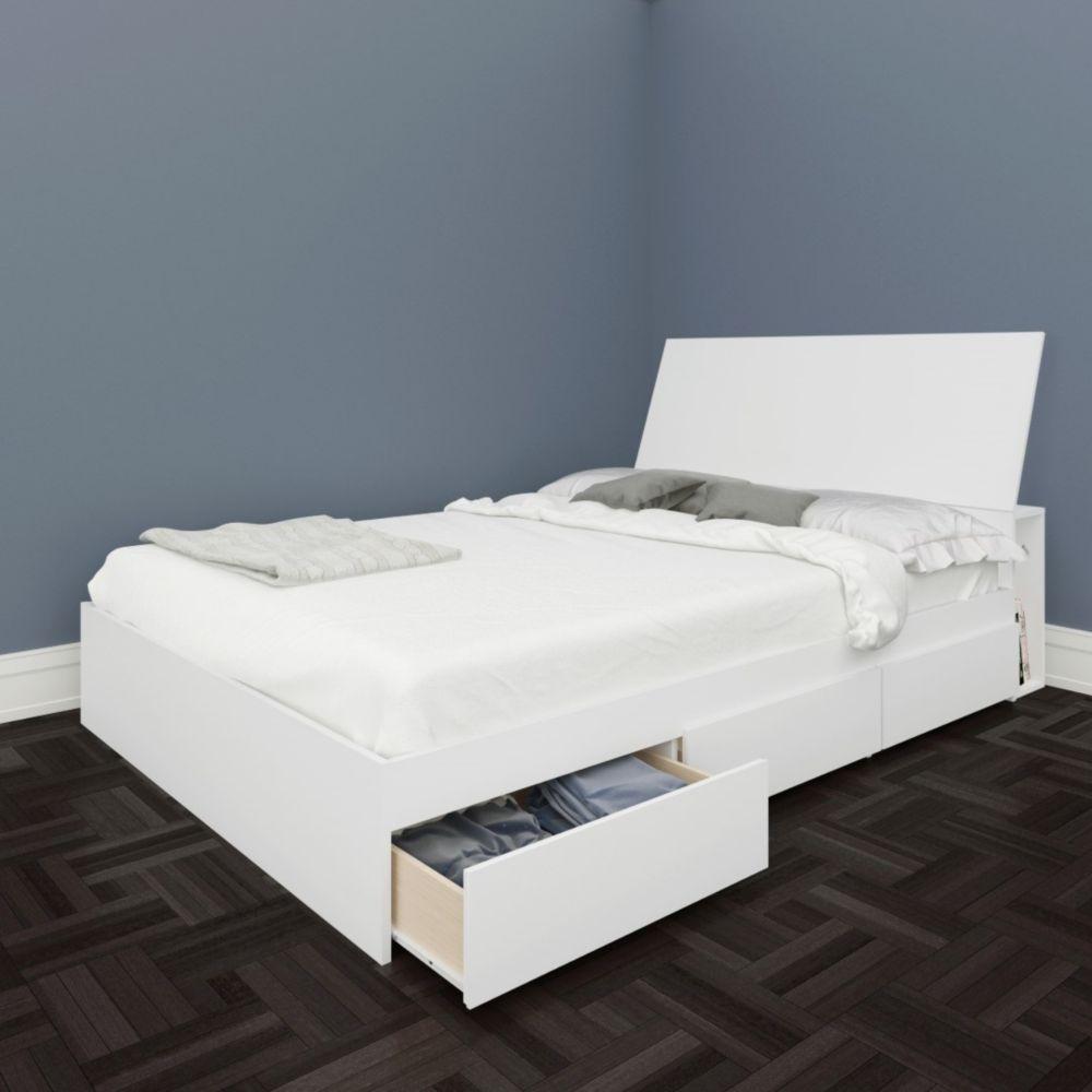 Nexera BLVD Full Size Headboard and Storage Bed, White