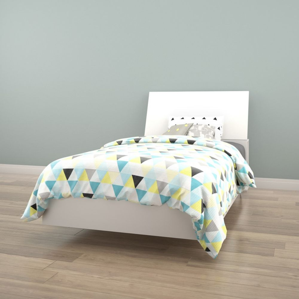 Nexera BLVD Twin Size Heaboard and Platform Bed, White