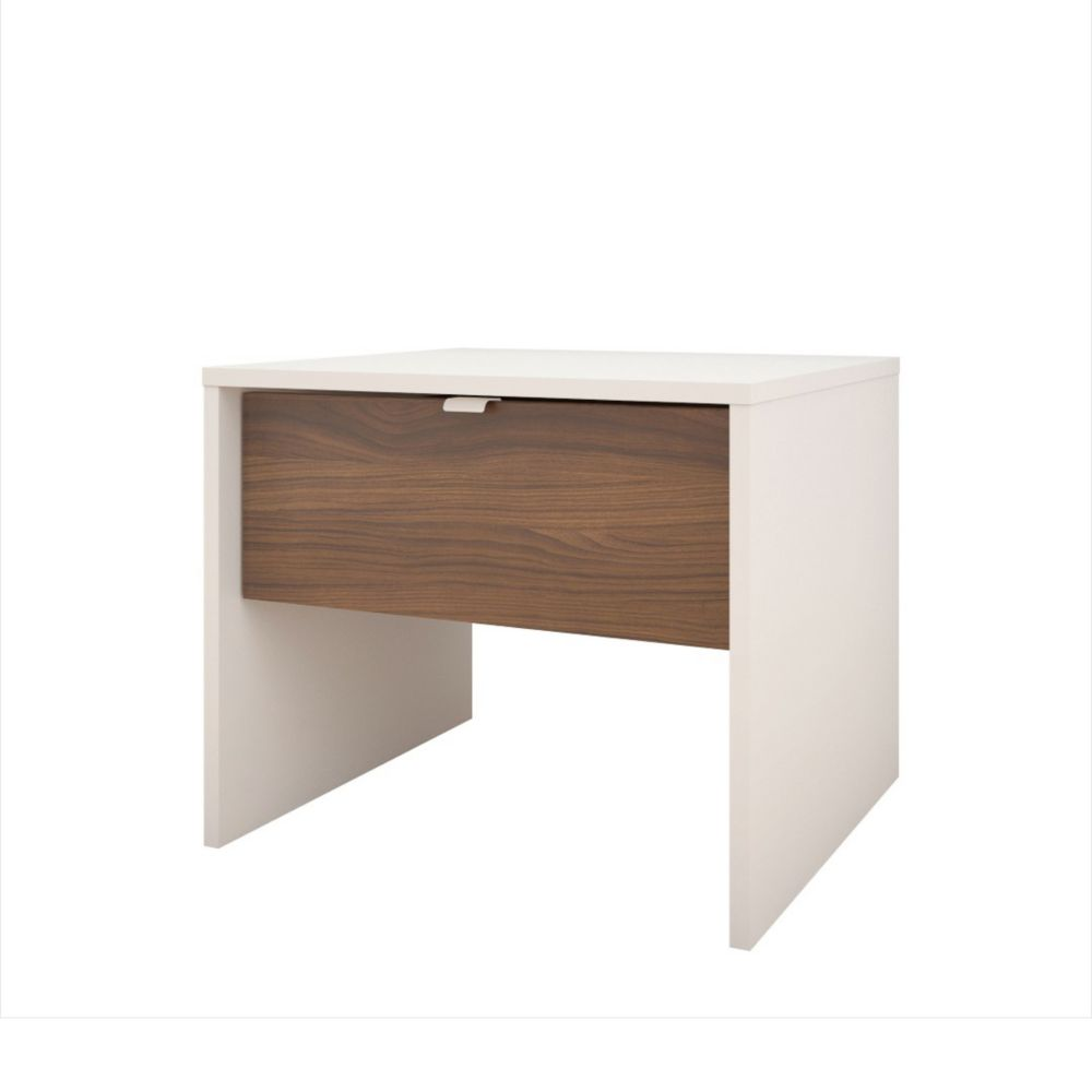 Nexera Celebri-T 1 Drawer Nightstand, White and Walnut