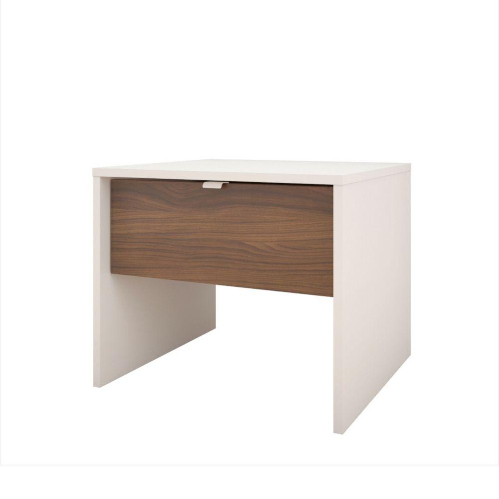 Nexera Celebri-T 1 Drawer Nightstand, White and Walnut