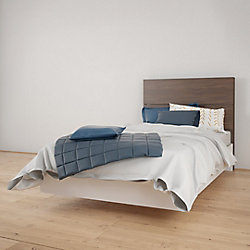 Nexera Celebri-T Twin Size Heabdoard and Platform Bed, White and Walnut