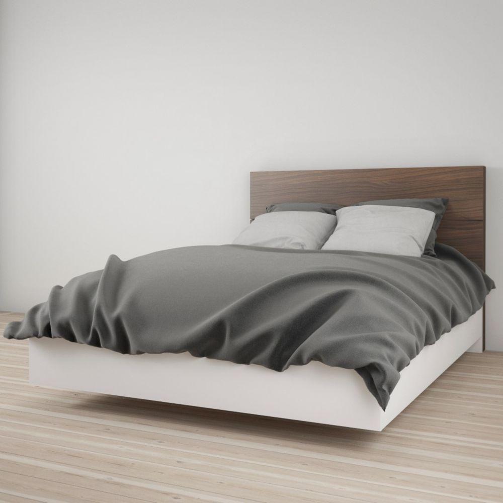 Nexera Celebri-T Full Size Headboard and Platform Bed, White and Walnut