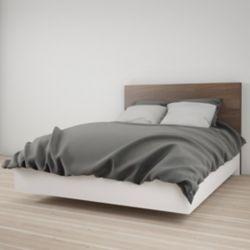 Nexera Lit plateforme Double Celebri-T avec tête de lit, blanc et noyer
