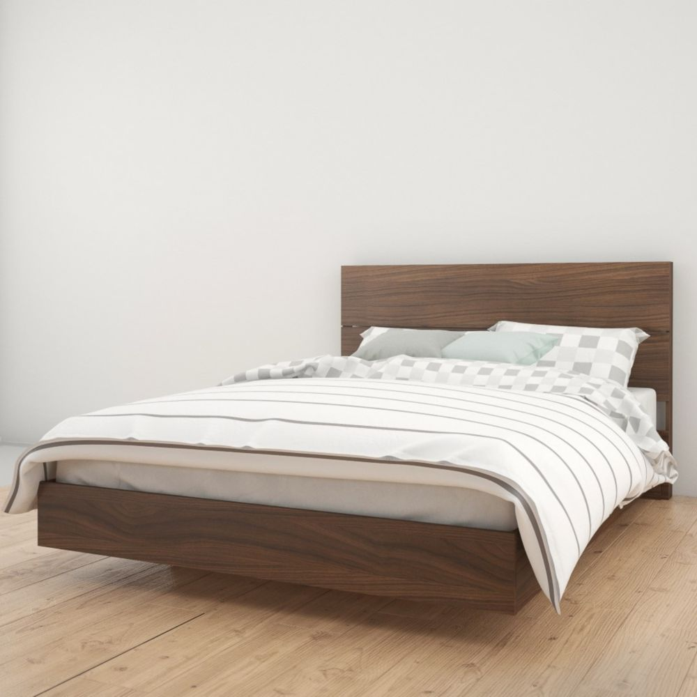 Nexera Celebri-T Queen Size Headboard and Platform Bed, Walnut