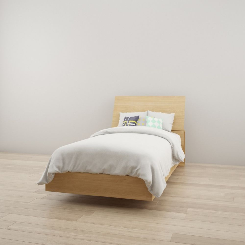 Nexera Kabane Twin Size Heaboard and Platform Bed, Natural Maple