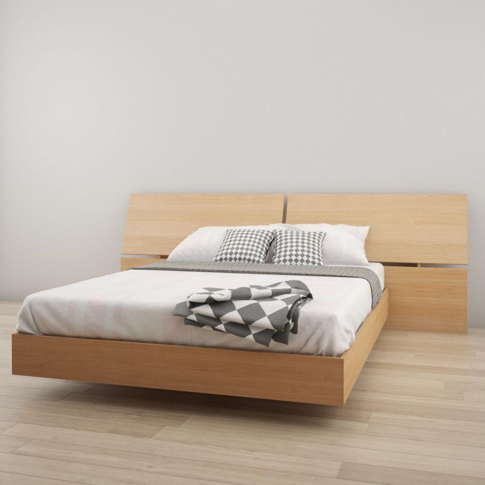 Nexera Kabane Queen Size Platform Bed and Panoramic Headboard, Natural Maple