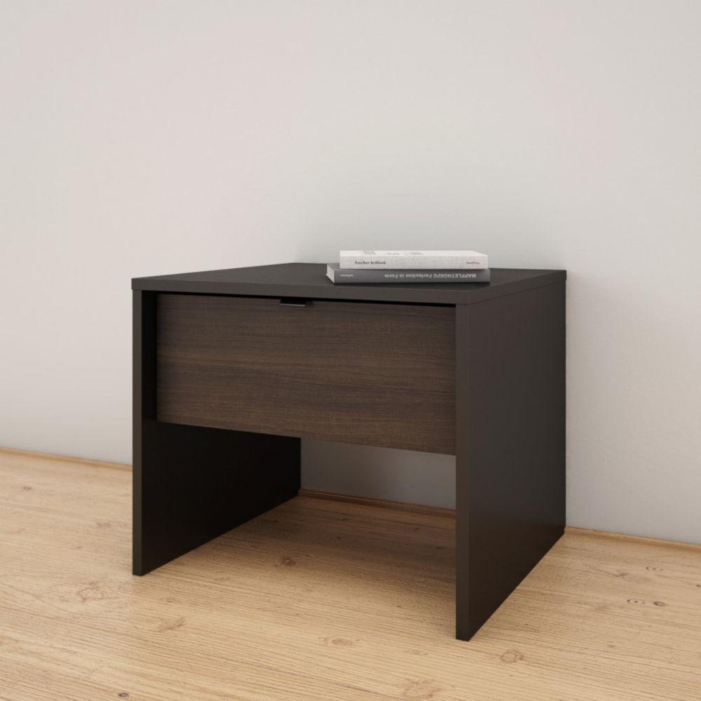 Nexera Opaci-T 1 Drawer Nightstand, Black and Ebony