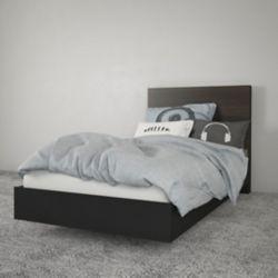 Nexera Opaci-T Twin Size Heaboard and Platform Bed, Black and Ebony