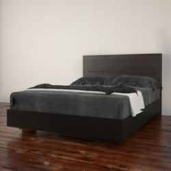 Nexera Opaci-T Full Size Headboard and Platform Bed, Black and Ebony