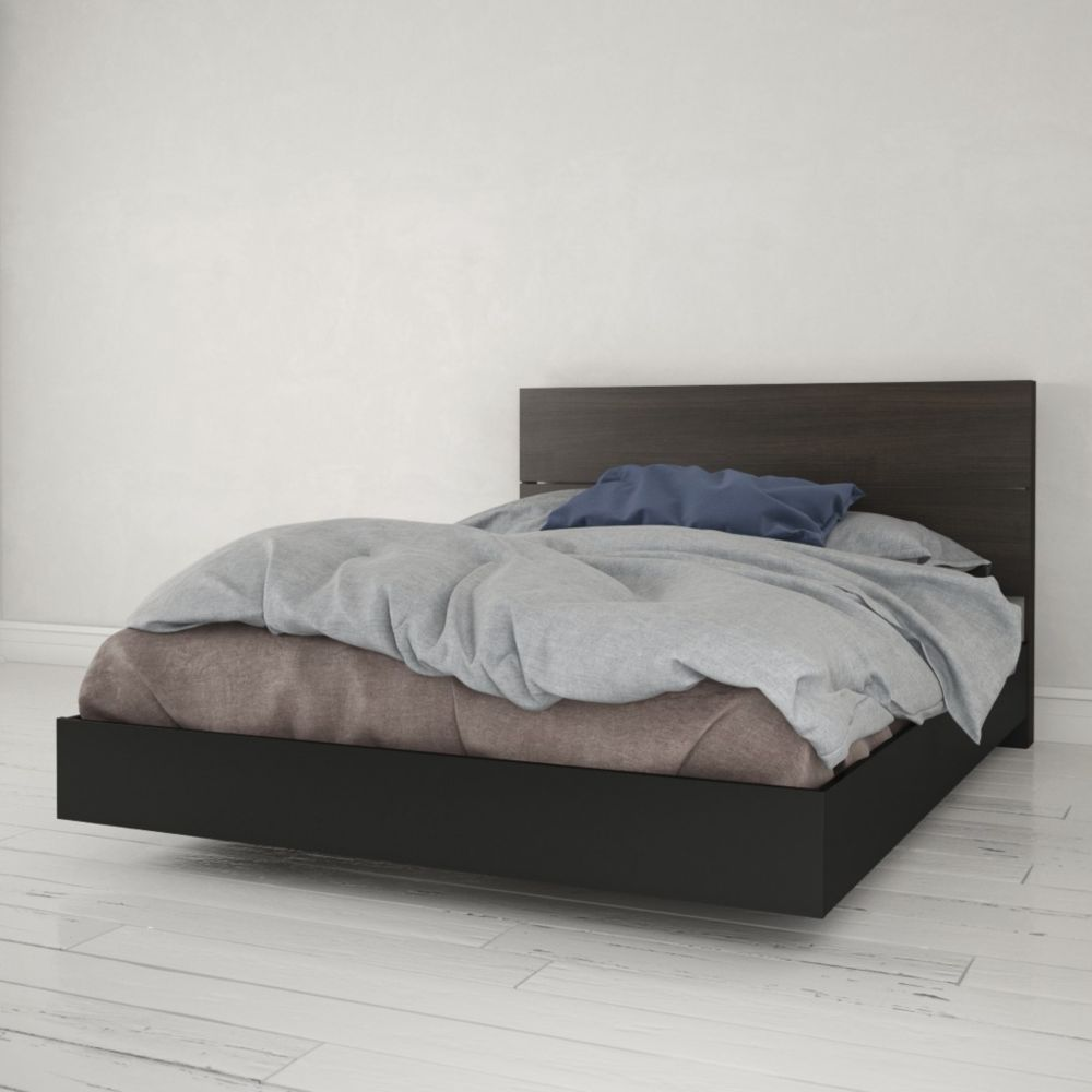 Nexera Opaci-T Queen Size Headboard and Platform Bed, Black and Ebony