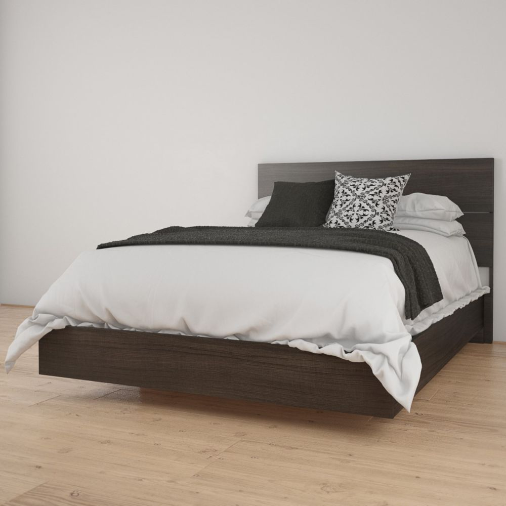 Nexera Opaci-T Full Size Headboard and Platform Bed, Ebony