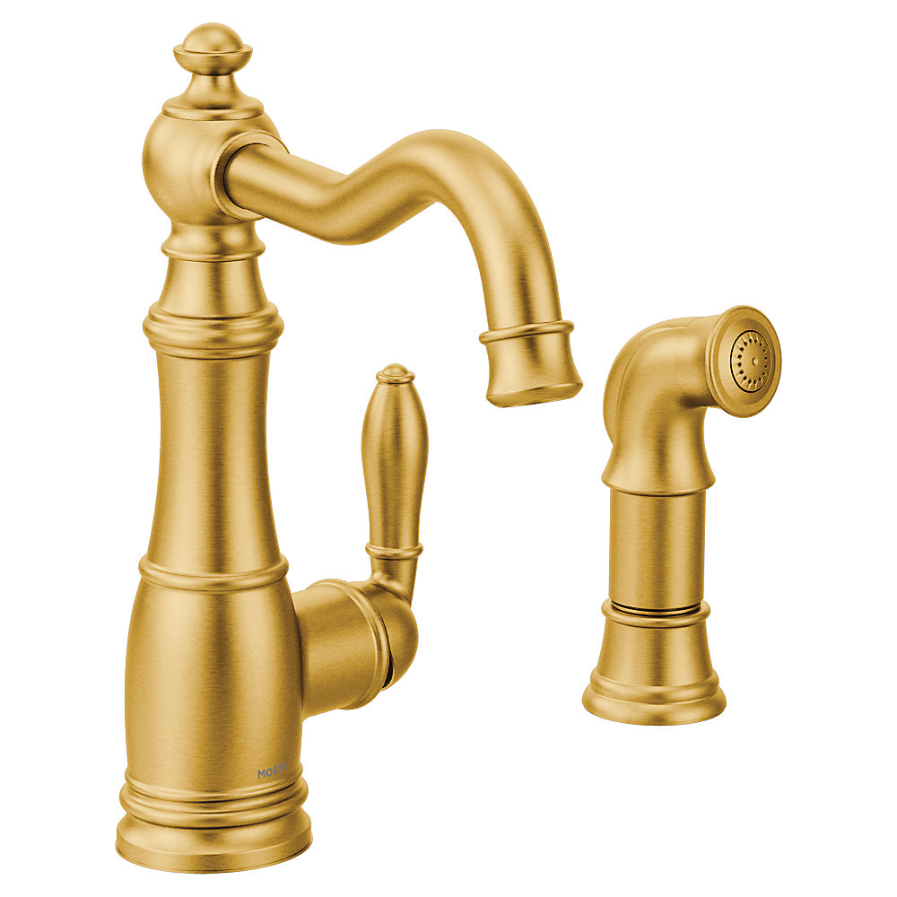 Weymouth Single Handle Standard Kitchen Faucet With Side Sprayer In Brushed Gold
