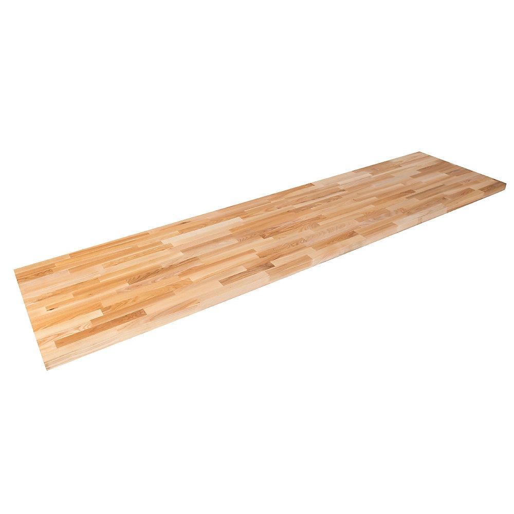 98 inch X 25 inch X 1.5 inch Wood Butcher Block Countertop in Unfinished European Ash