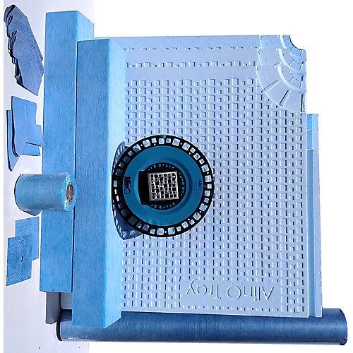 Kit de douche en ABS de 60 po x 60 po (carré - nickel)