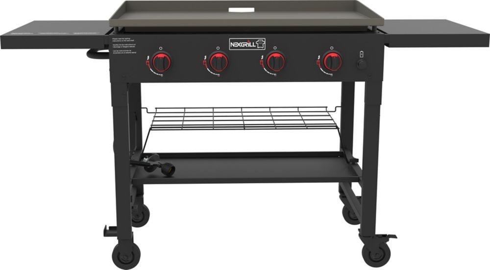 Barbecue au propane à 4 brûleurs avec plaque chauffante, noir