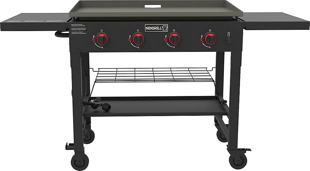 Plaque chauffante au barbecue au propane à 4 brûleurs
