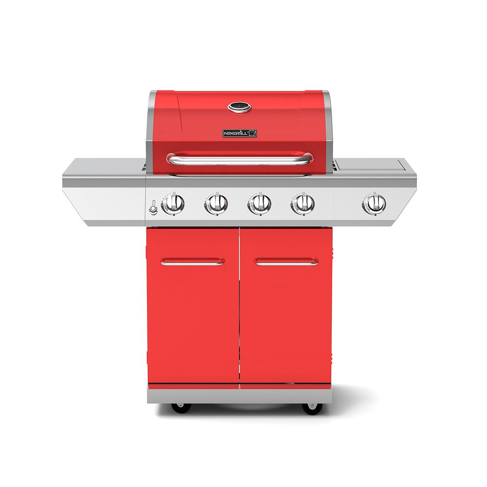 NexGrill 4-Burner Propane BBQ in Red with Side Burner
