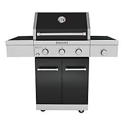 KitchenAid 3-Burner Outdoor Gas BBQ with Ceramic Infrared Sear Burner in Black