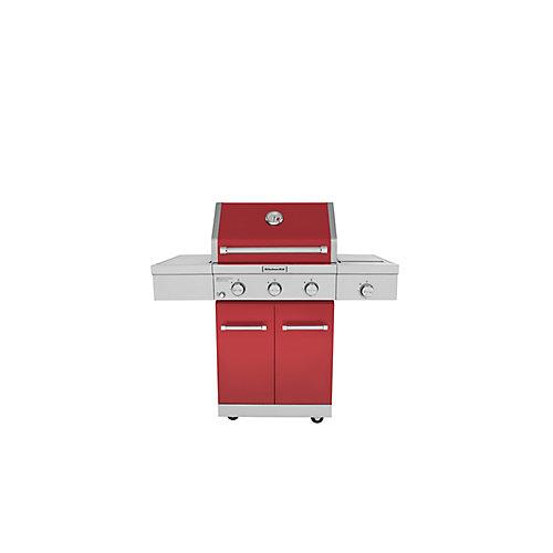 Barbecue à gaz extérieur 3 brûleurs avec brûleur à infrarouge en céramique en rouge
