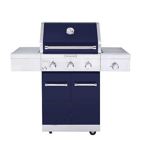 KitchenAid 3-Burner Propane Gas BBQ Grill in Blue with Ceramic Infrared Sear Burner