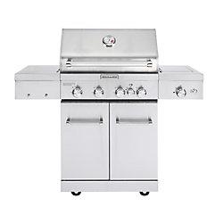 KitchenAid Barbecue à gaz extérieur à 4 brûleurs avec brûleur Sear et brûleur de rôtisserie