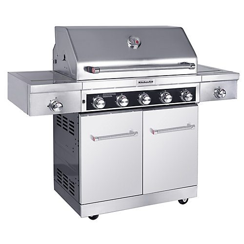 5-Burner Outdoor Propane BBQ with Sear & Side Burner & PVC Cover