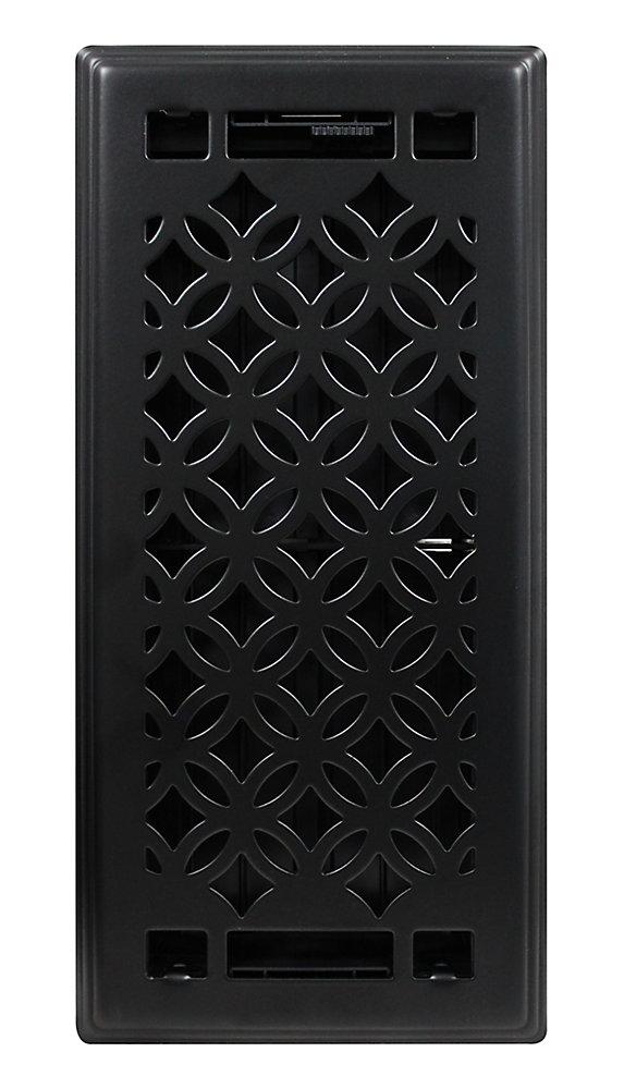 Grille de ventilation en fini noir mat Serenity 4po x 10po, paquet de trois