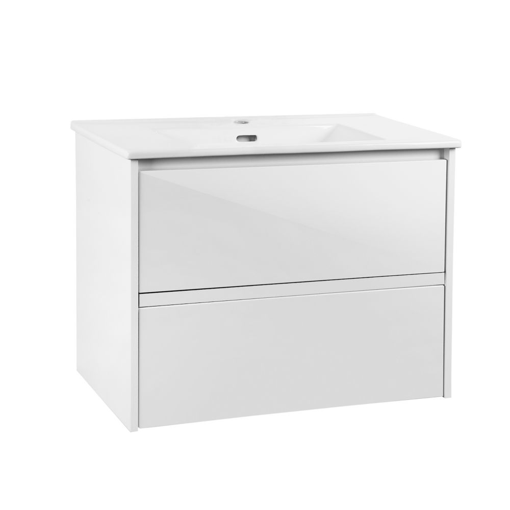 GLACIER BAY Cotherstone 30-inch 2-Drawer Wall Mounted Vanity in White with White Top and Basin