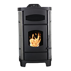 2,200 Sq. ft. Epa Certified Pellet Stove With Brushed Stainless Steel Curved Sides