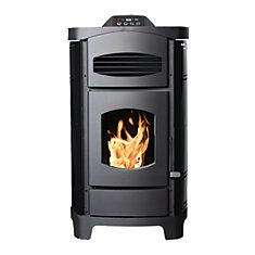 2,200 Sq. ft. Epa Certified Pellet Stove With Polished Black Curved Sides