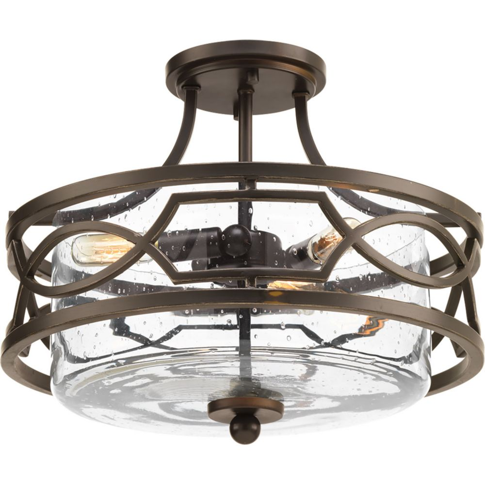Progress Lighting Soiree Three-light Semi-Flush Convertible