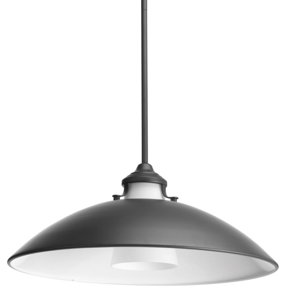 Progress Lighting Carbon One-light Pendant with Metal Shade 19.75 inch
