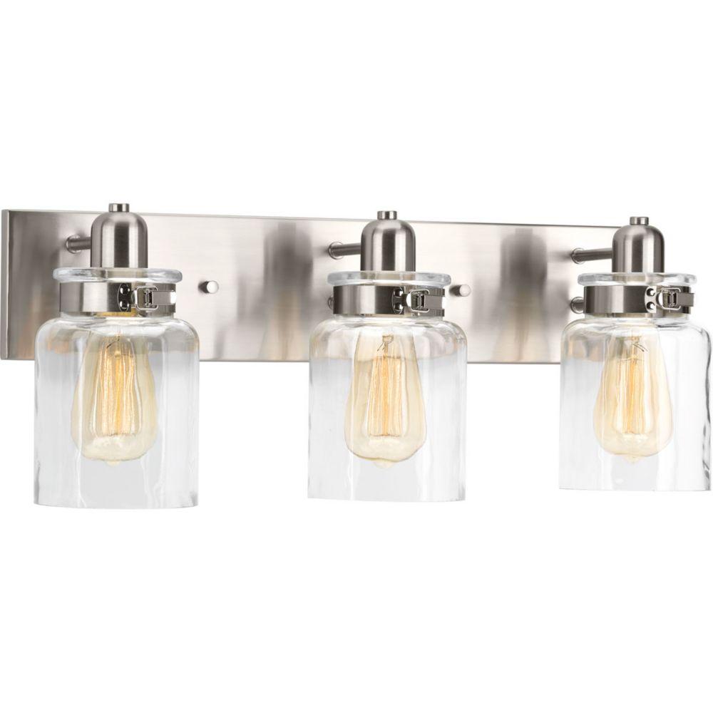 Progress Lighting Calhoun Collection 3-Light Brushed Nickel Bath Light