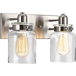 Progress Lighting Luminaire de salle de bain à 2 lumières, collection Calhoun - fini nickel brossé