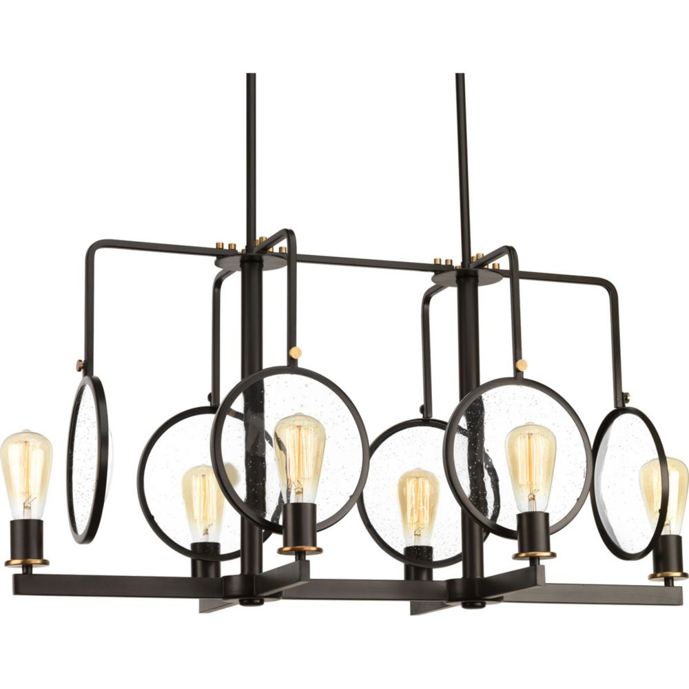 Progress Lighting Looking Glass Collection 6-Light Antique Bronze Chandelier