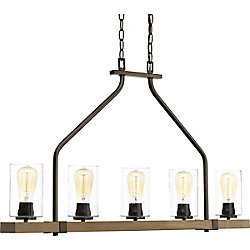Progress Lighting Lustre à 5 lumières, collection Barnes Mill - fini bronze antique